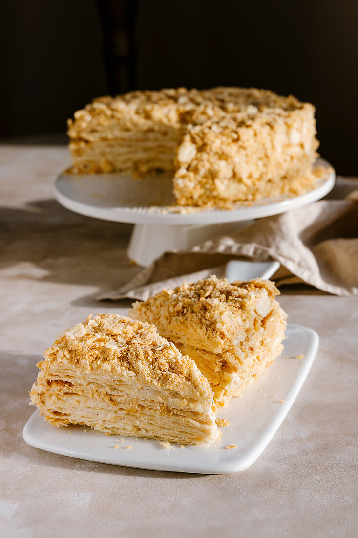Homemade vanilla, pastry cream mille-feuille cake