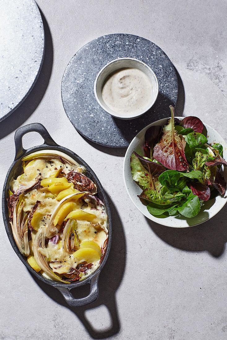 Raclette gratin with lamb's lettuce