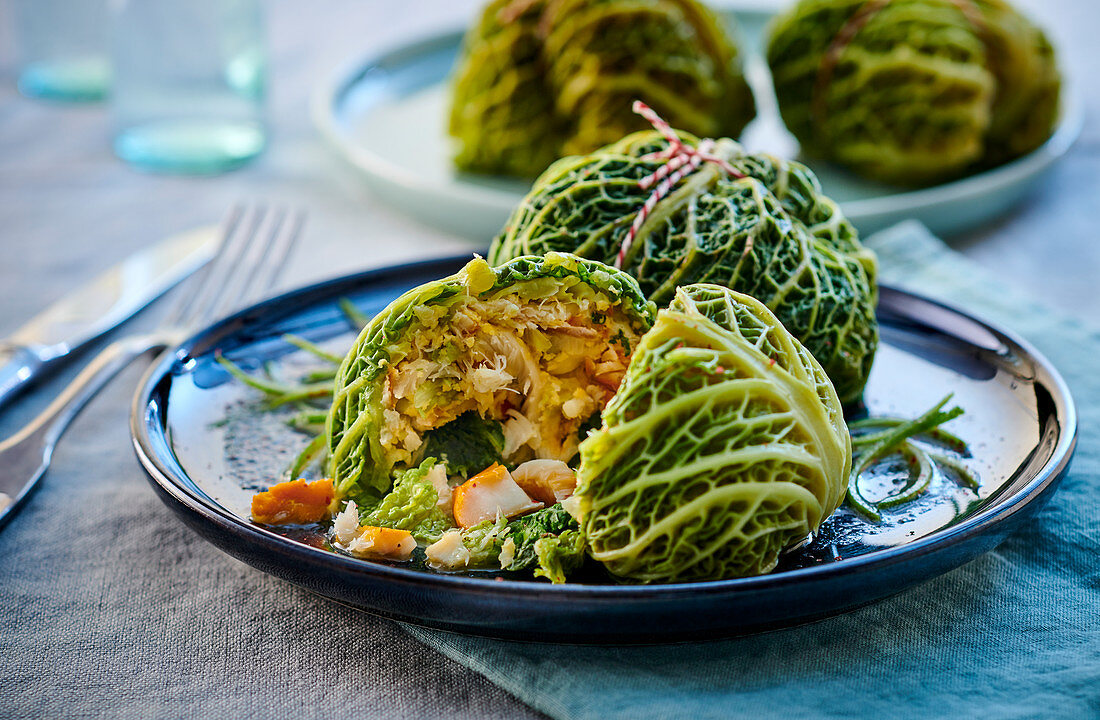 Savoy cabbage parcels filled with haddock