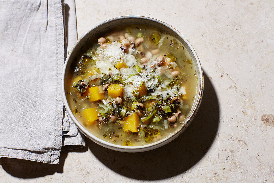 Winter minestrone with kale, leek and turnips