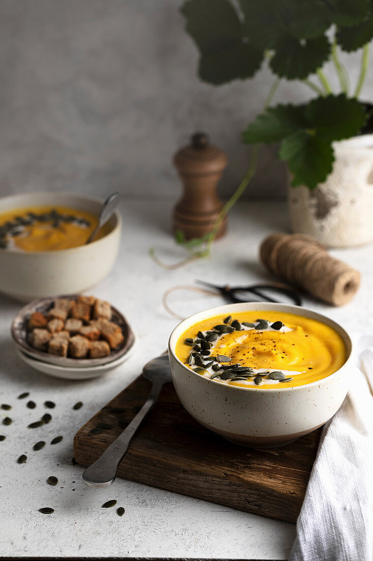 Tasty pumpkin soup in bowl with seeds