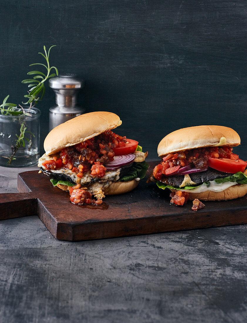 Portobello mushroom burgers with a tomato and date salsa