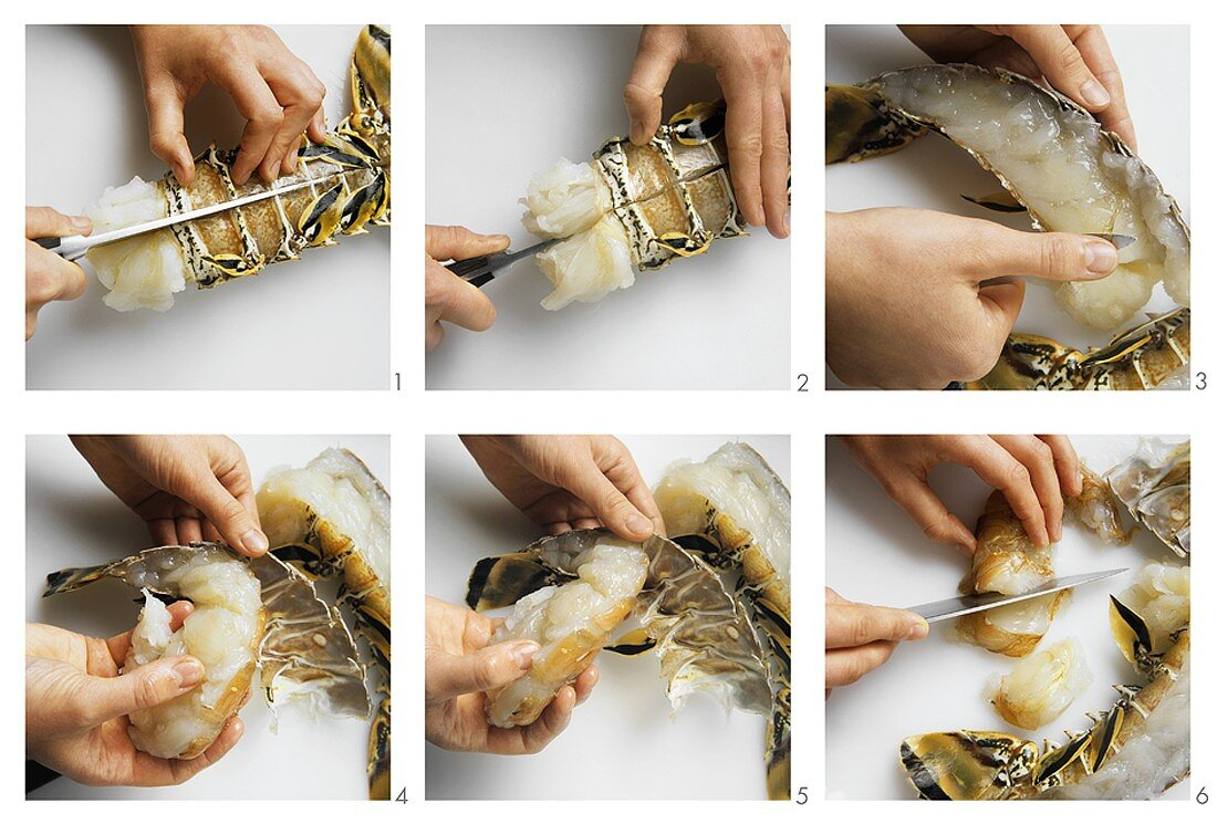 Removing the meat from a spiny lobster tail