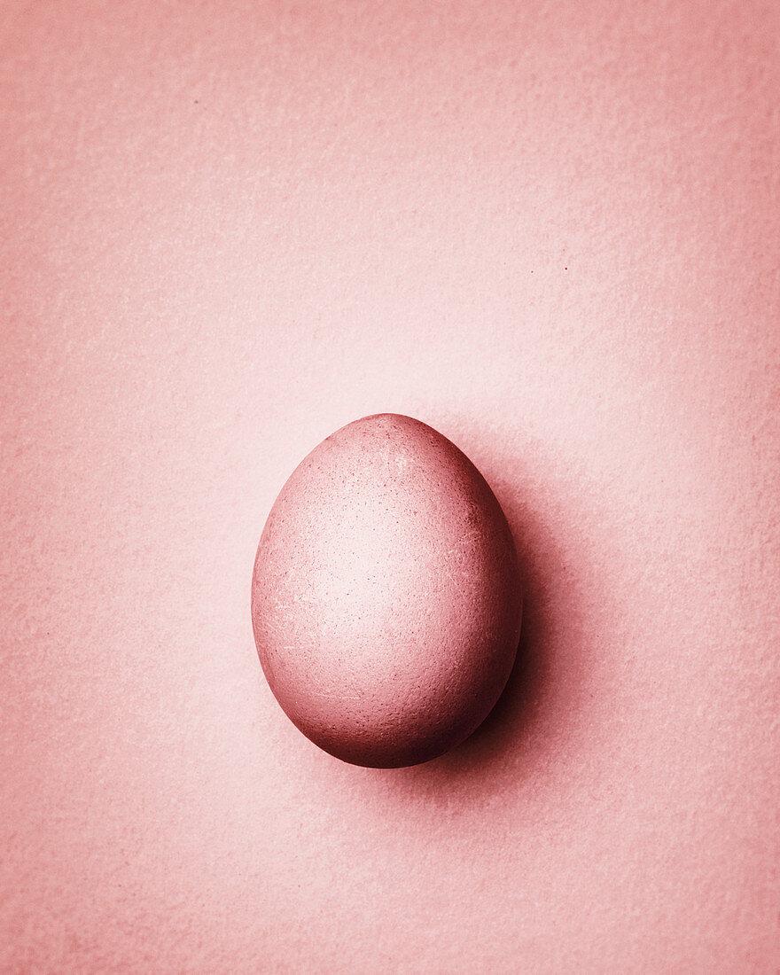 Pastel pink Easter egg on a pastel pink background