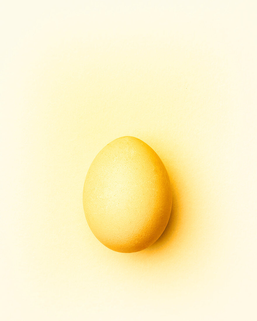 Pale yellow Easter egg on a pale yellow background