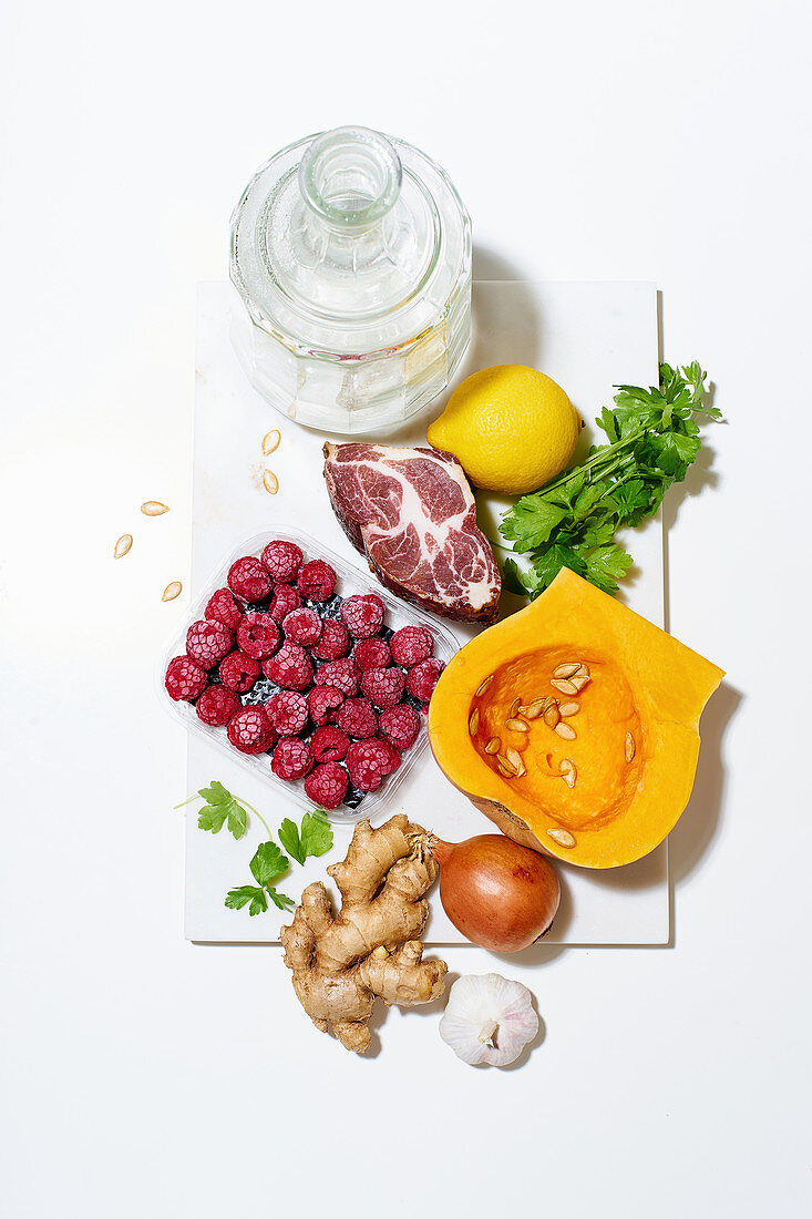 Various ingredients for cooking a healthy meal