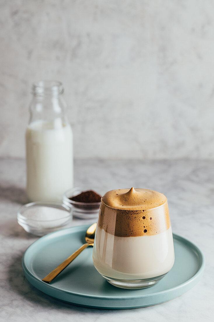 Glass of cold Dalgona coffee