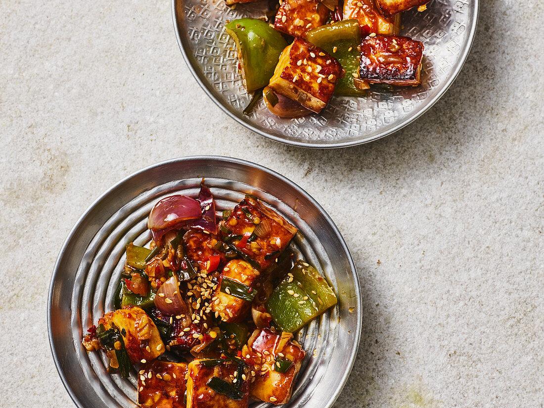 Spicy chilli paneer (India)
