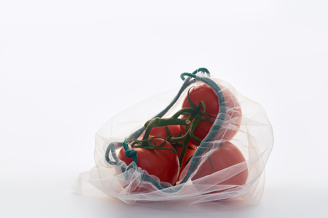 Tomatoes in net mesh bag on white background