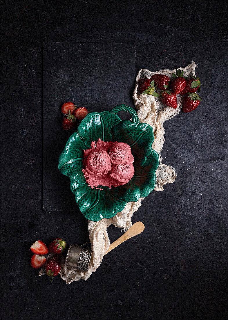 Strawberry ice cream in bowl