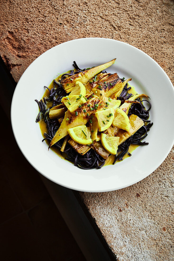 Black rice noodles with artichoke bottoms and preserved lemons