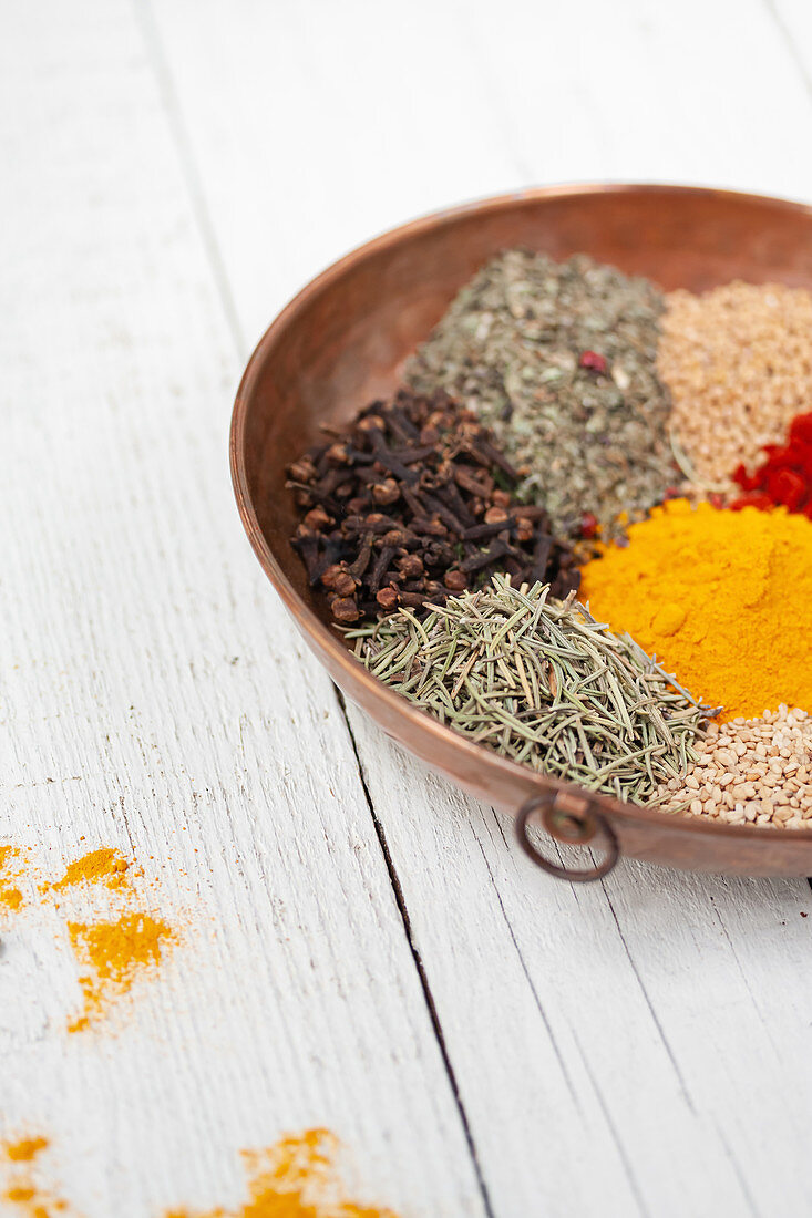 Various types of colorful dry spices