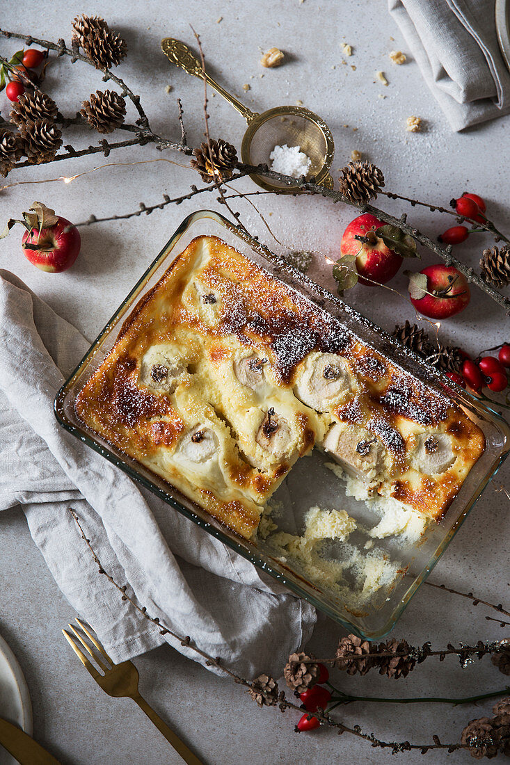 Winter apple bake with quark and eggs