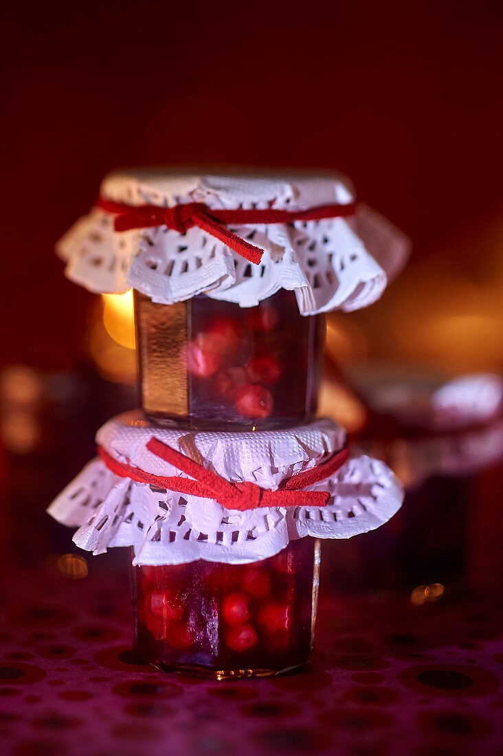 Two glasses of lingonberry chutney for gifting