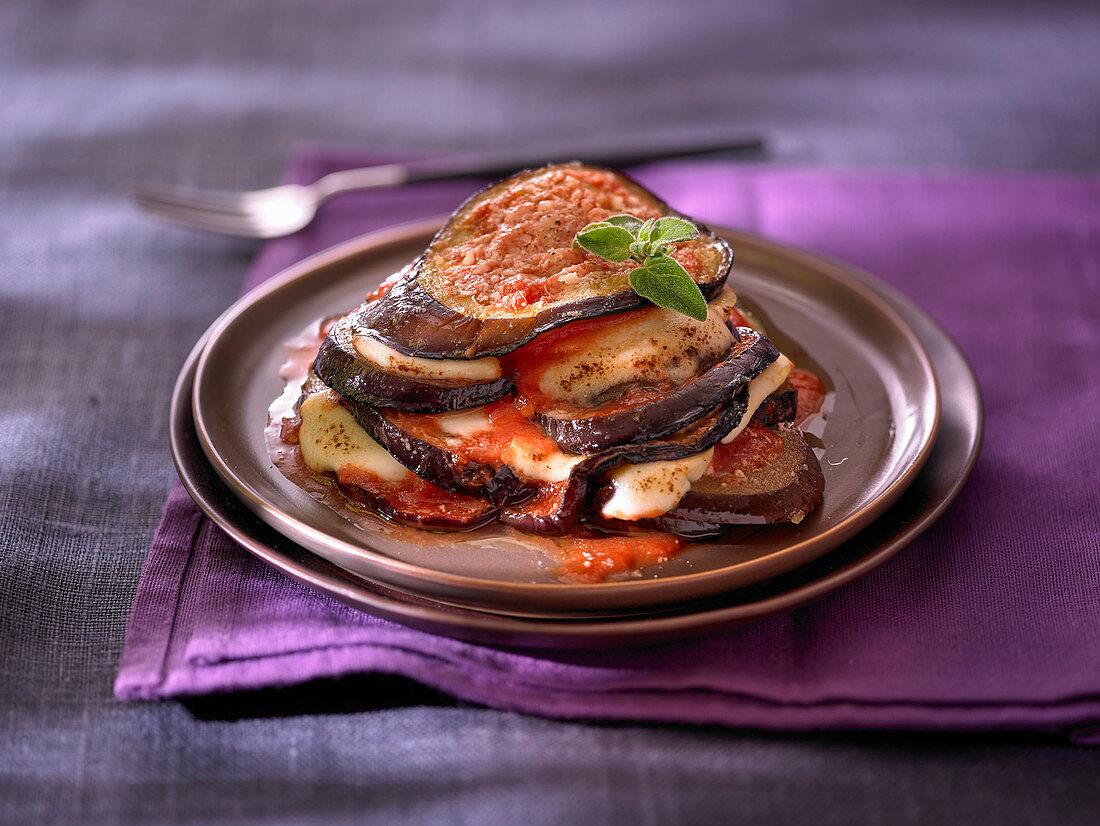Eggplant parmigiana on a plate (eggplant casserole, Italy)
