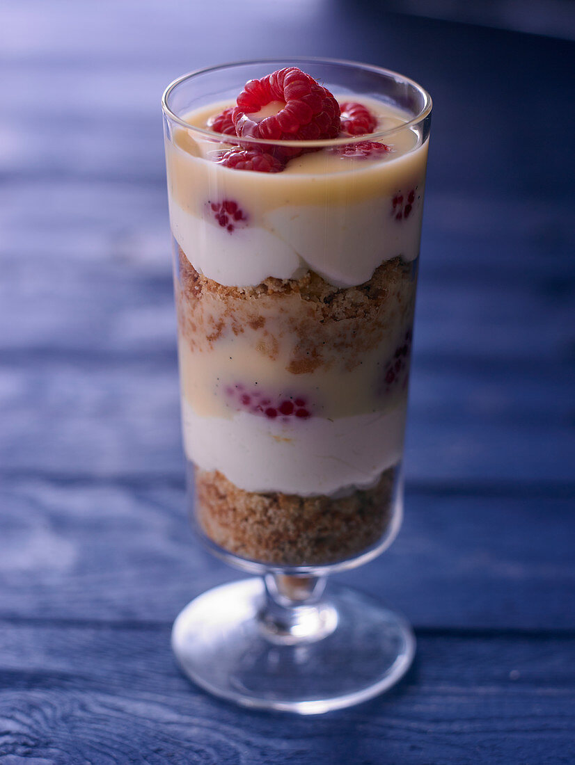 Berry trifle in a tall dessert glass