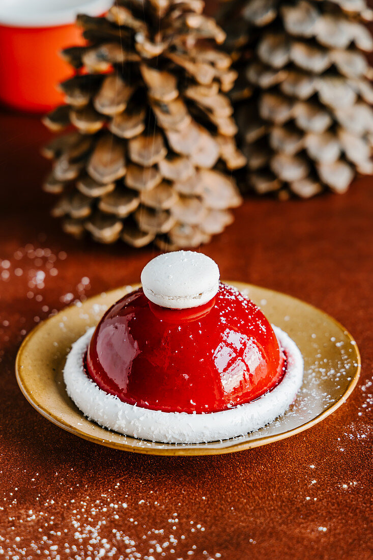 Christmas mousse cake with chocolate, orange and liquor