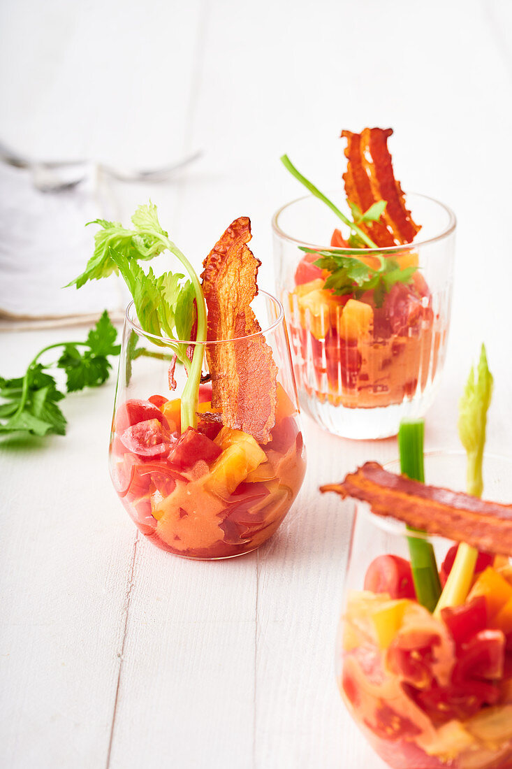 Bloody Mary salads with bacon