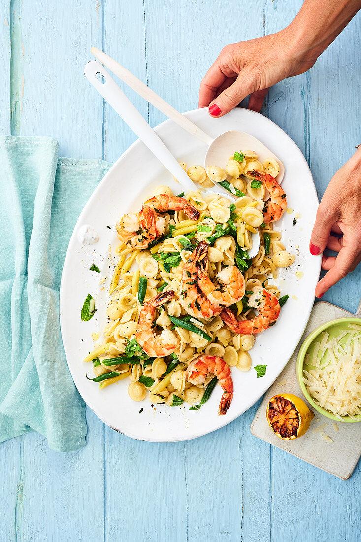 Orecchiette salad with prawns, beans and Parmesan