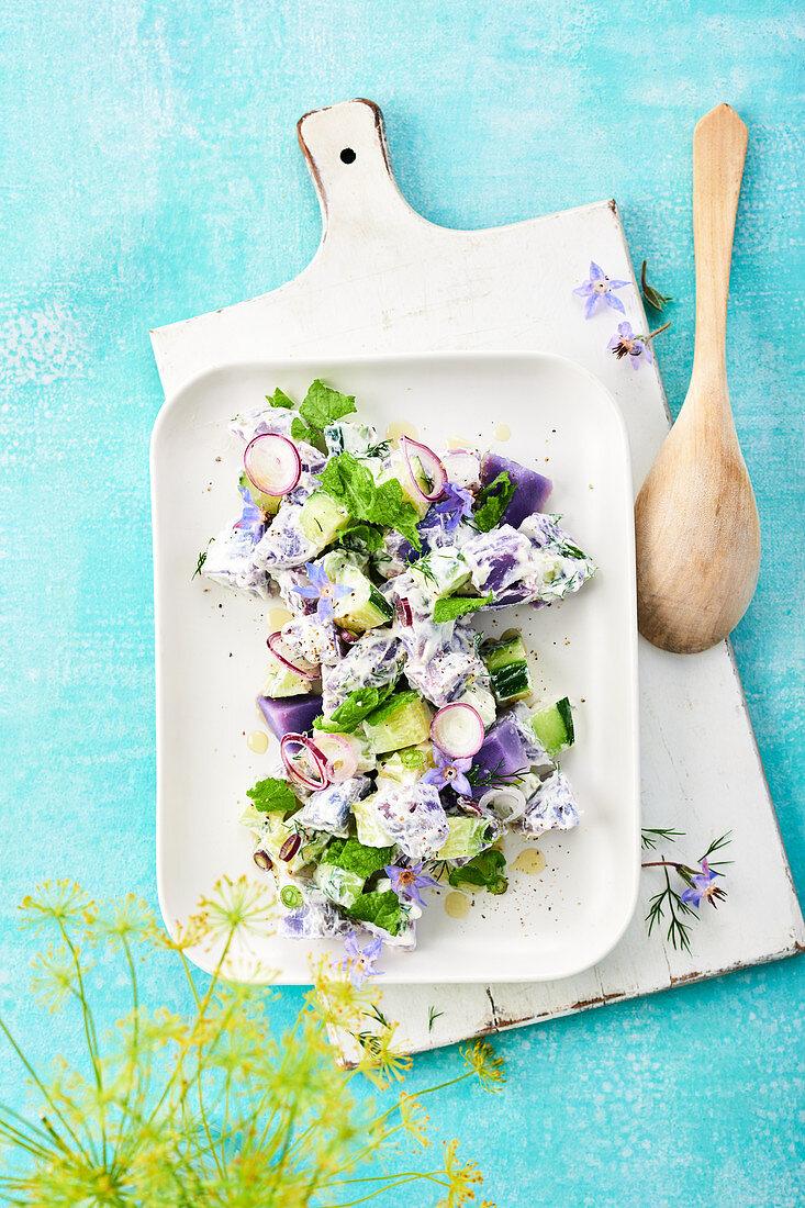 Lila Kartoffelsalat mit Schmand, Gurken und Borretsch