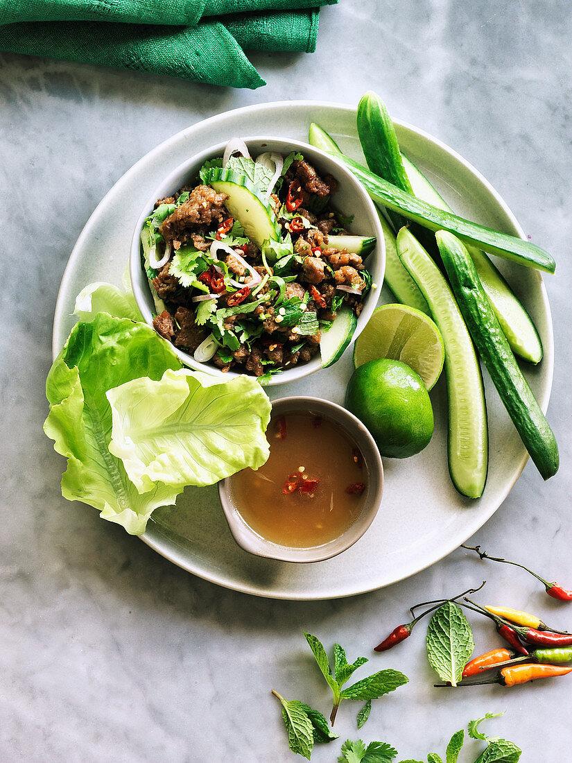 Vegan Thai larb salad