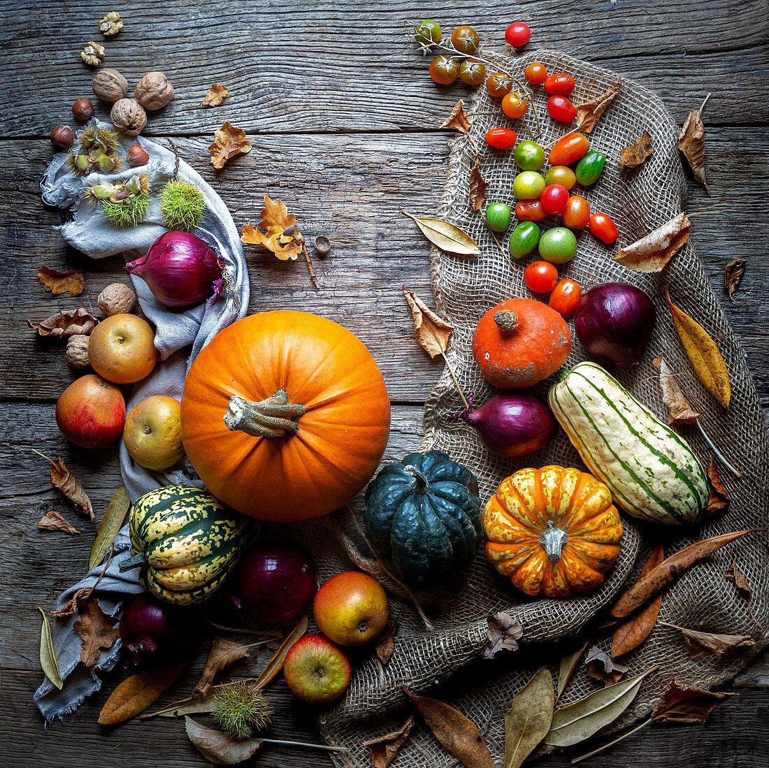 Pumpkins in Autumn setting