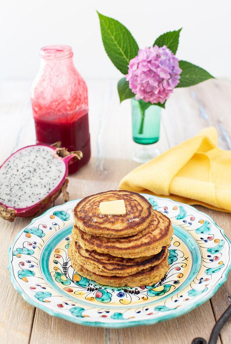 Carrot and Orange Oat Flour Pancakes