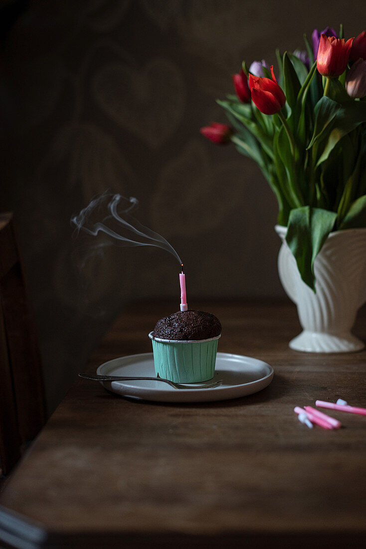 Chocolate cupcake with blown out candle