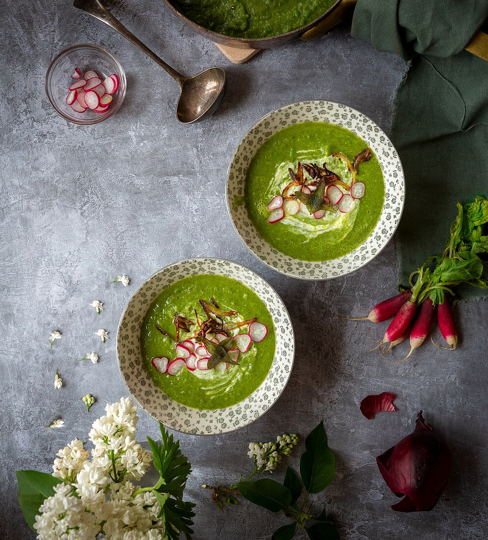 Pea and Chard soup with crispy onions radishes and sage leaves