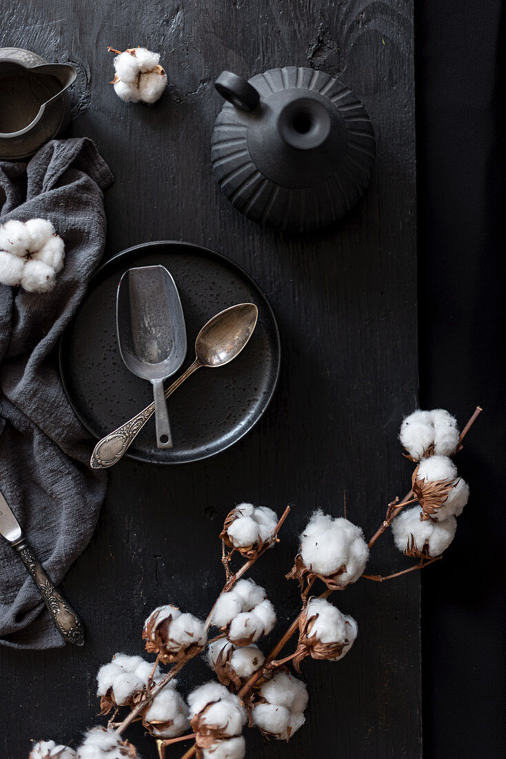 Retro spoons on plate with tender cotton flowers