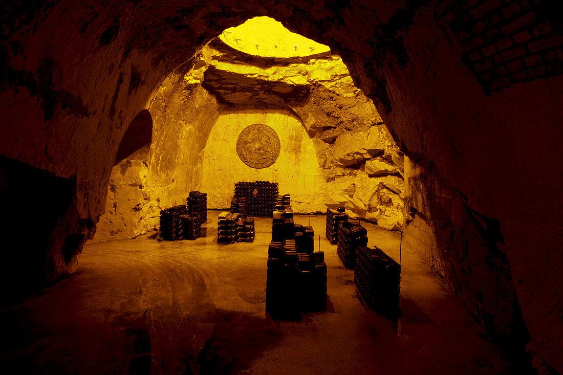Bottle cellar in a chalk cellar, Taittinger, Champagne, France