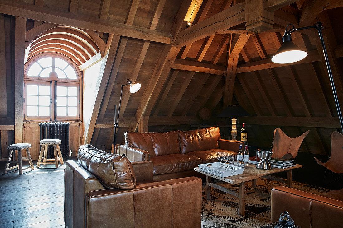 A sitting nook at Chateau Angelus, Saint-Emilion, Bordeaux, France