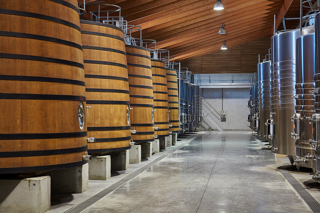 Barrel cellar, Chateau Brane-Cantenac, Margaux-Cantenac, Bordeaux, France