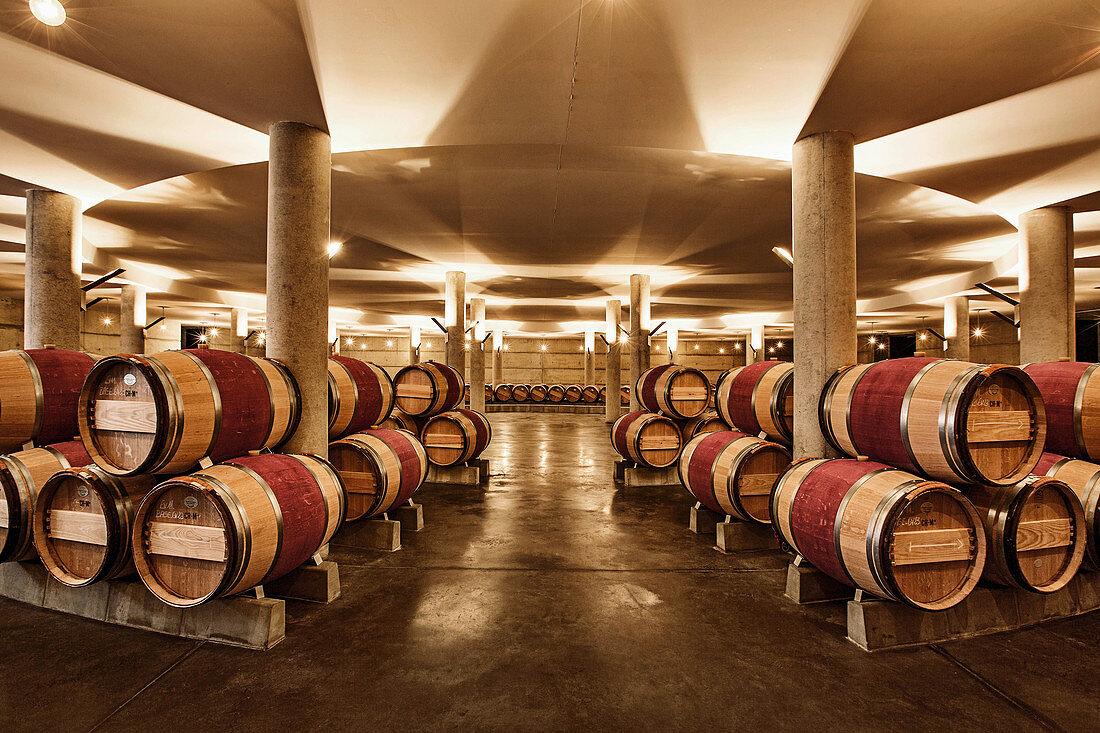 Barrique cellar, Chateau Evangile, Pomerol, Bordeaux, France