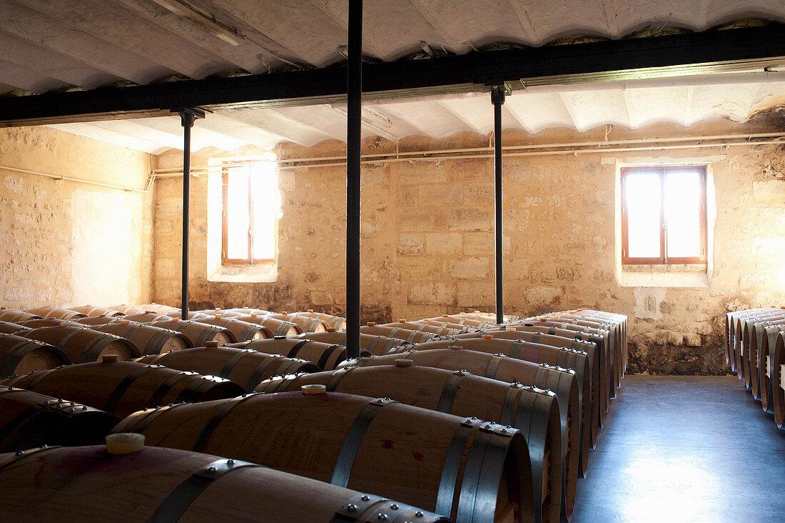 Barrique barrels, Chateau Giscours, Margaux, Bordeaux, France