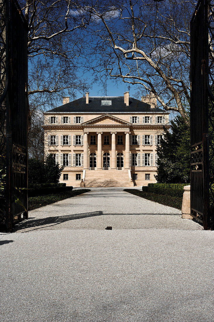 Main building and park, Chateau Margaux, Medoc, Bordeaux, France