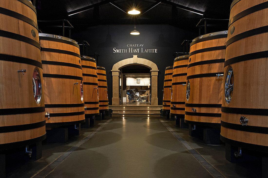 Barrel cellar, Chateau Smith Haut Lafitte, Bordeaux, France