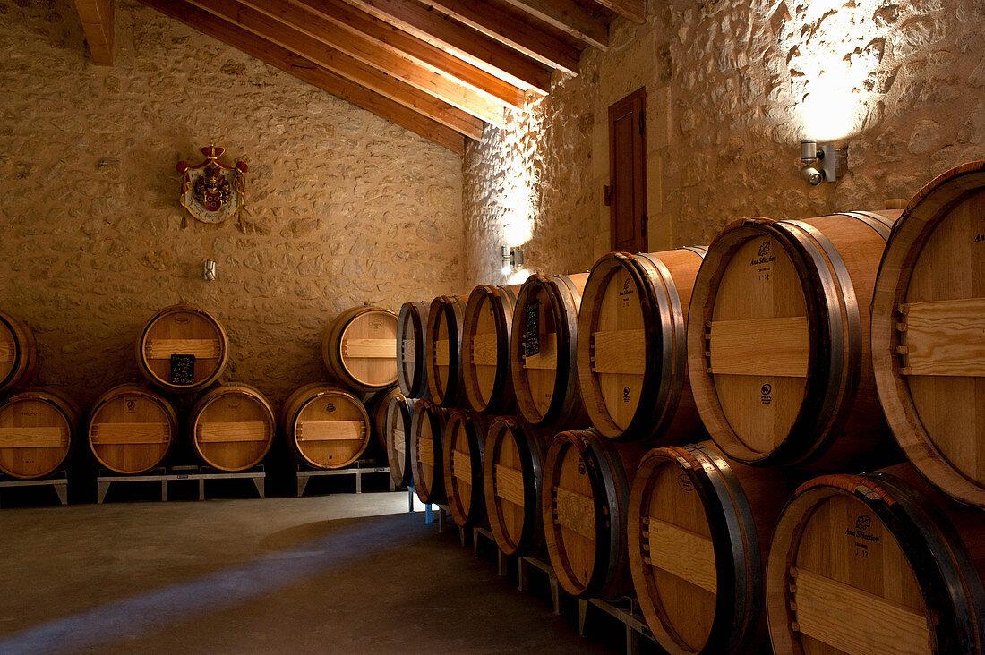 Barrique barrels, La Mondotte, Saint-Emilion, Bordeaux, France