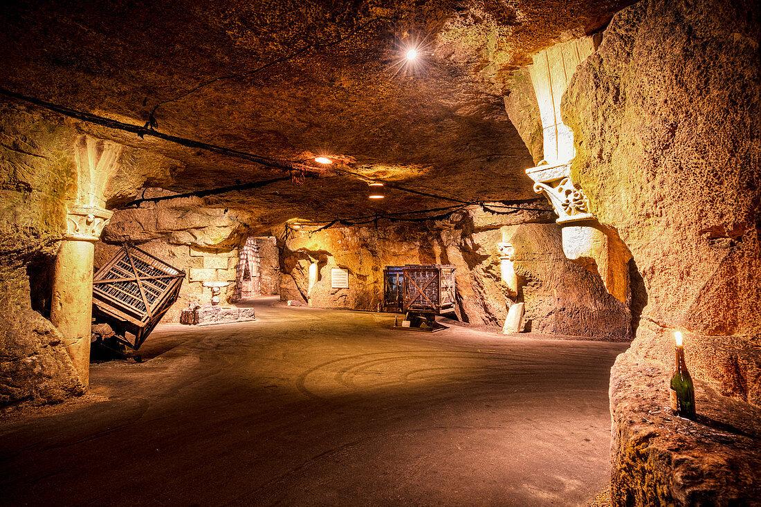 Vaulted cellar, Bouvet Ladubay, Saumur, Loire, France