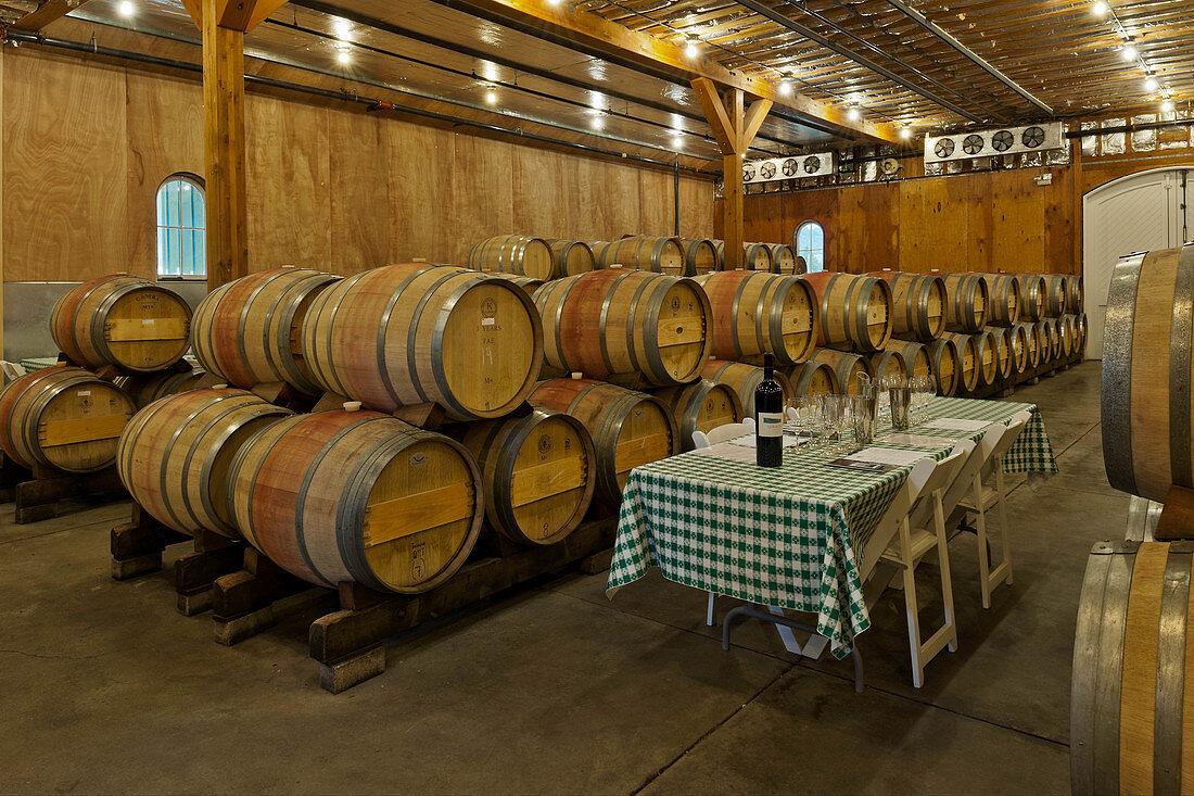Wine barrels, Cathy Corison Winery, Napa Valley, California, USA