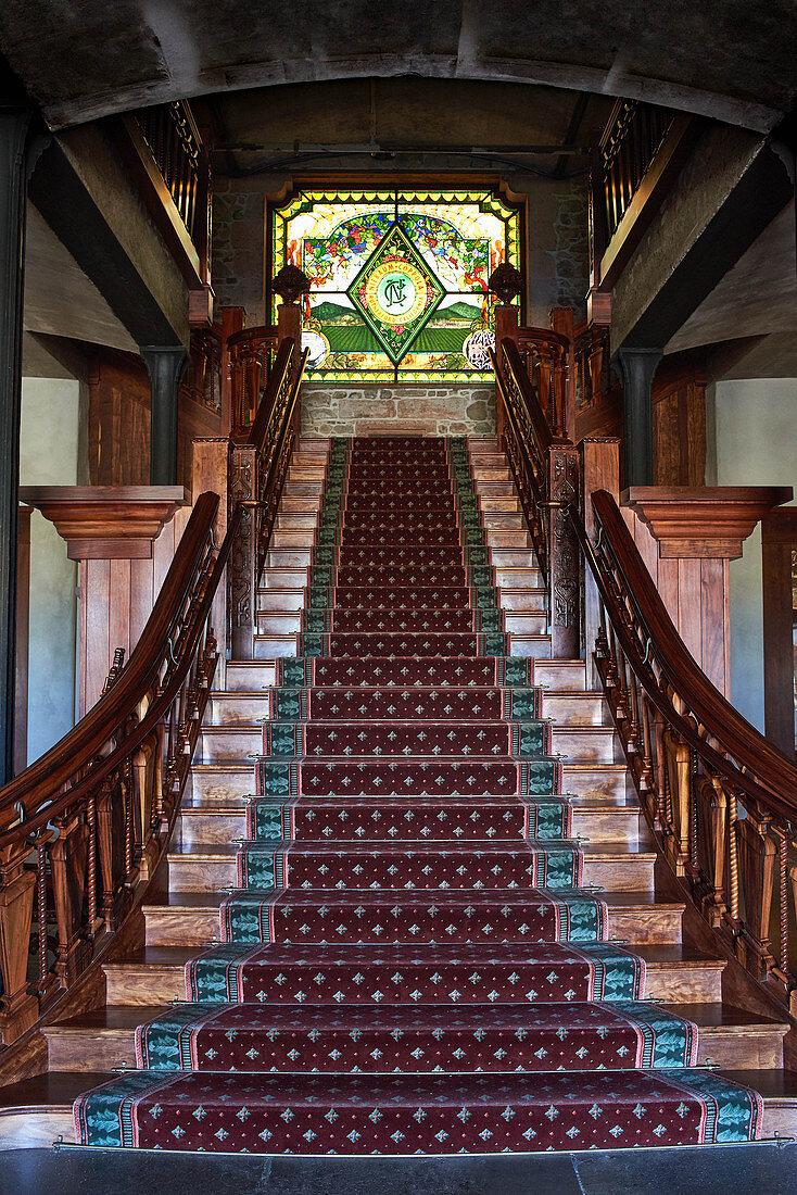 Wooden staircase, Inglenook Winery, Napa Valley, California, USA
