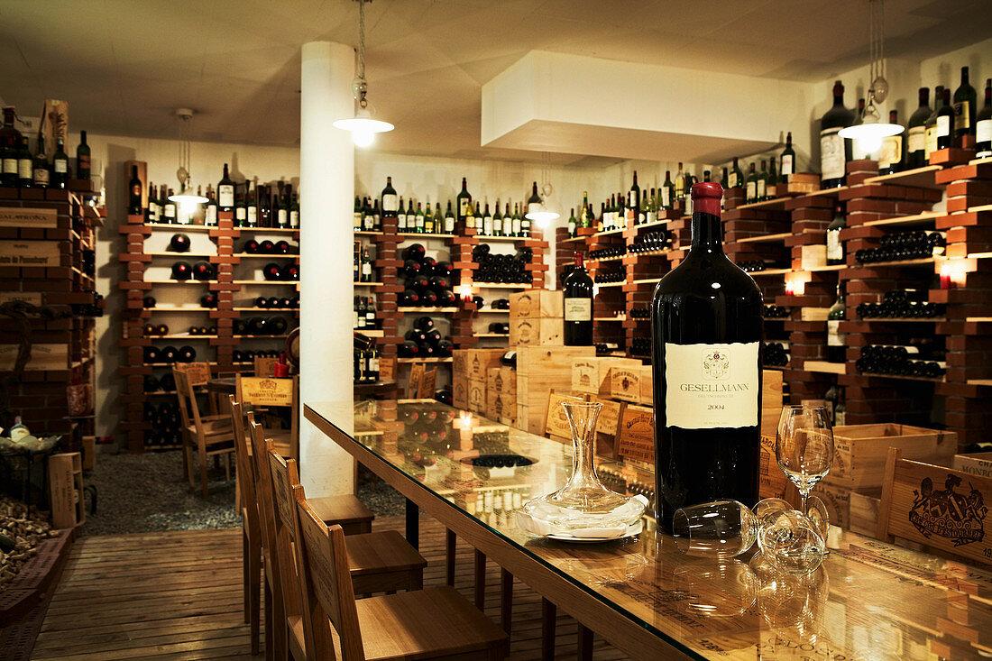Wine shop at Hotel Goldener Berg, Lech, Arlberg, Austria
