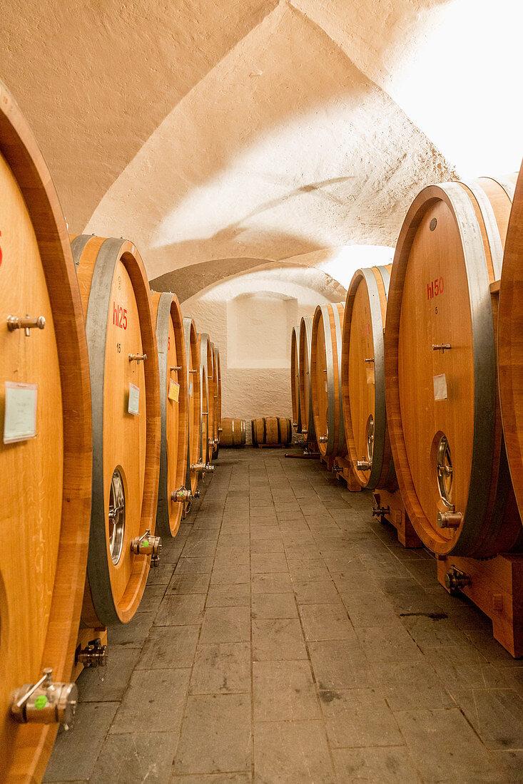 Barrel cellar, Lageder vineyard, South Tyrol