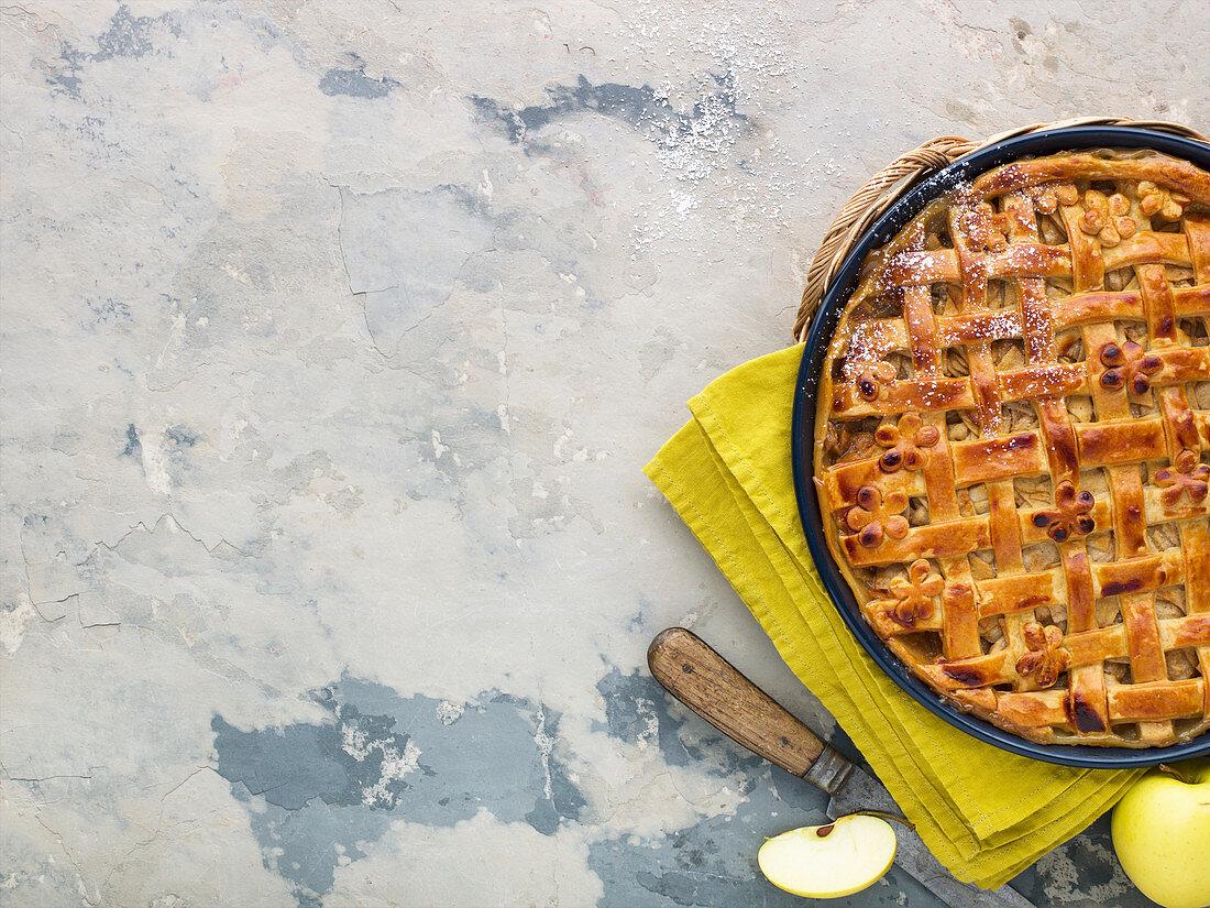 American apple pie in a tin