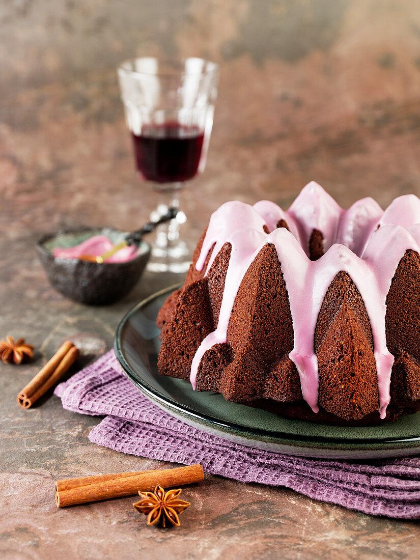 Spiced cake with a red wine glaze