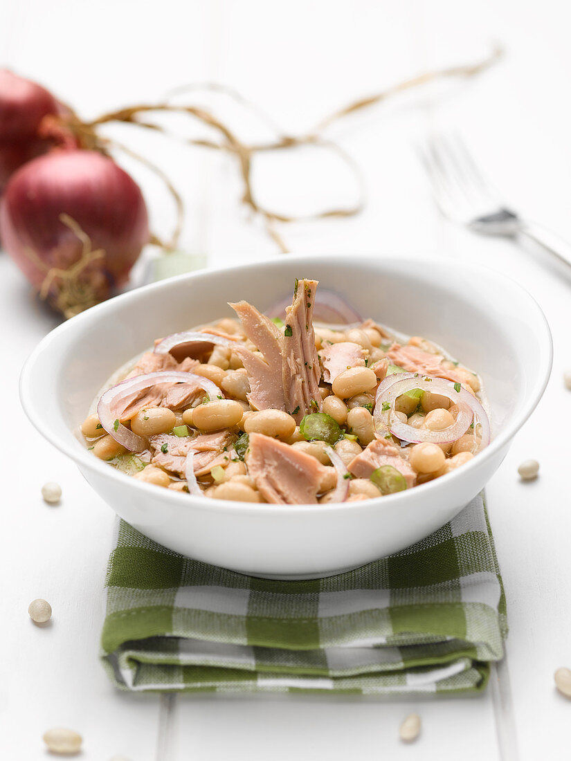 Summer soup with tuna, white beans and red onions