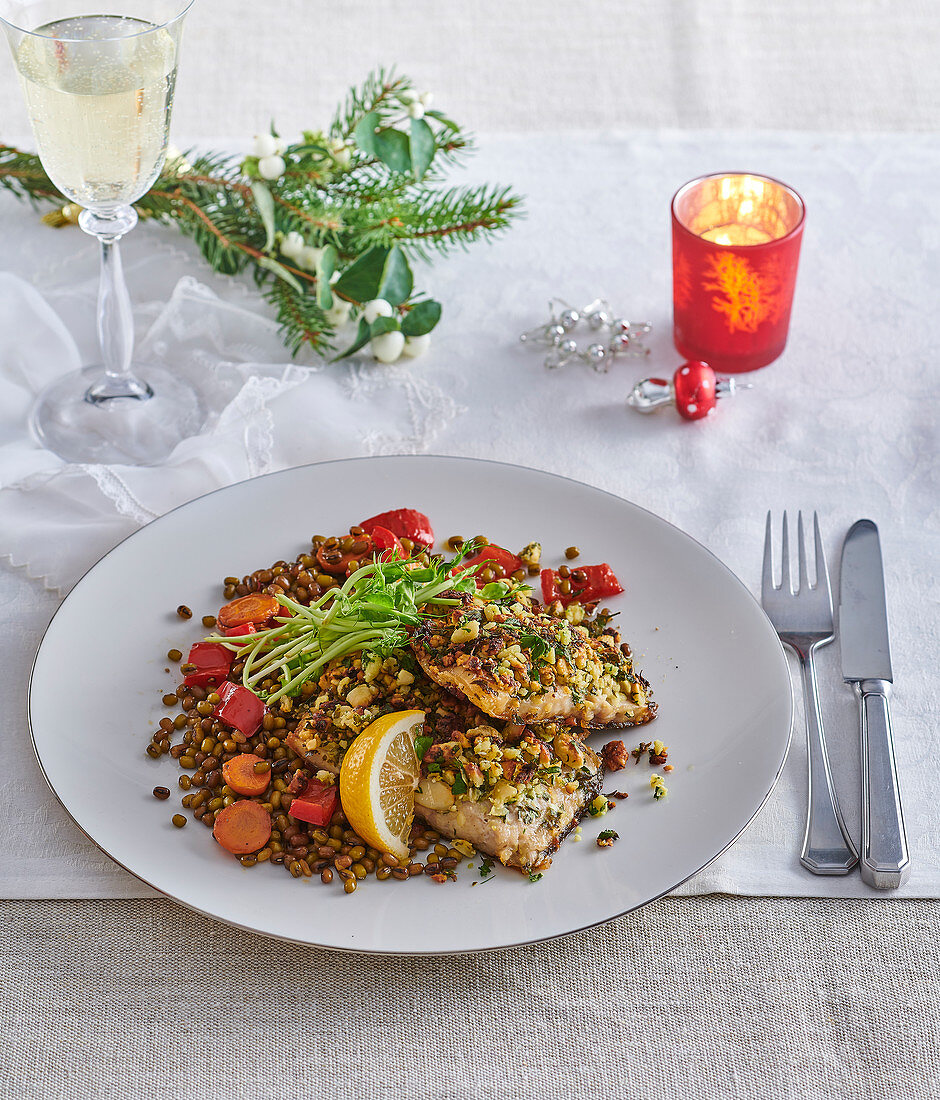 Carp fillets with almond-herb crust