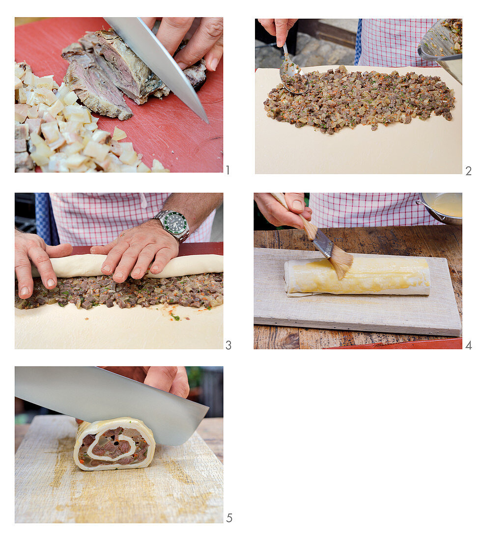Prepare puff pastry snail with wild boar head