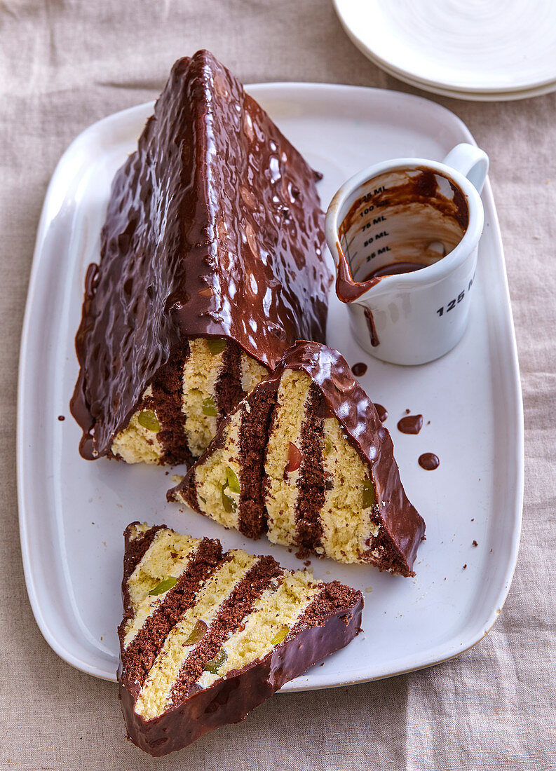 Biscuit cake (roof) with wine grapes