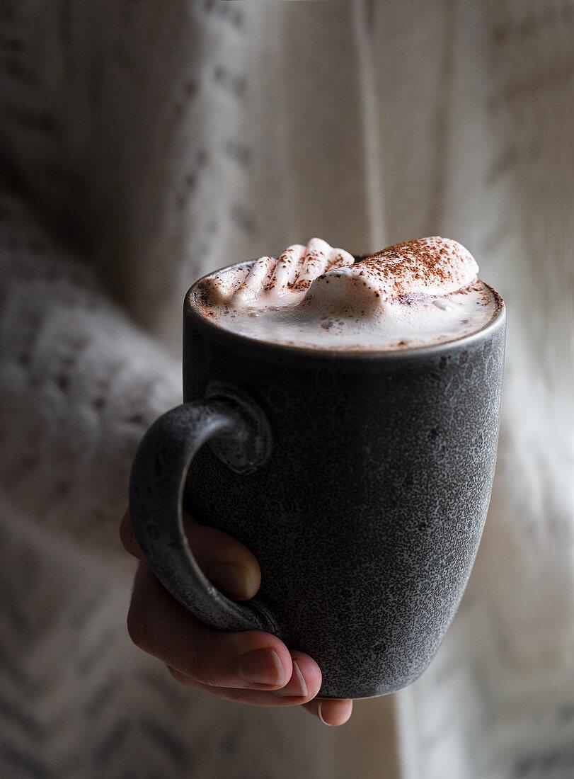 Vegan hot chocolate with marshmallows